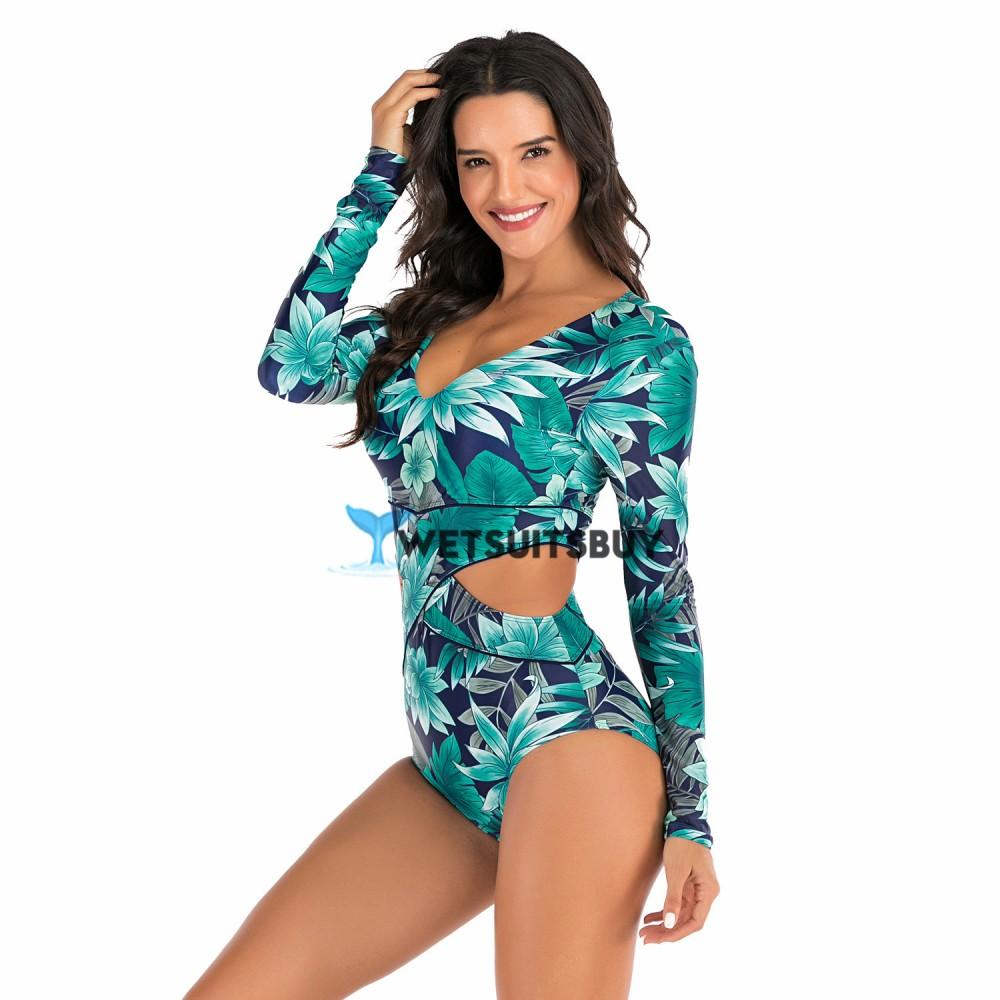 Sexy Long Sleeve Rash Guard Floral Print Cutaway Swimsuit