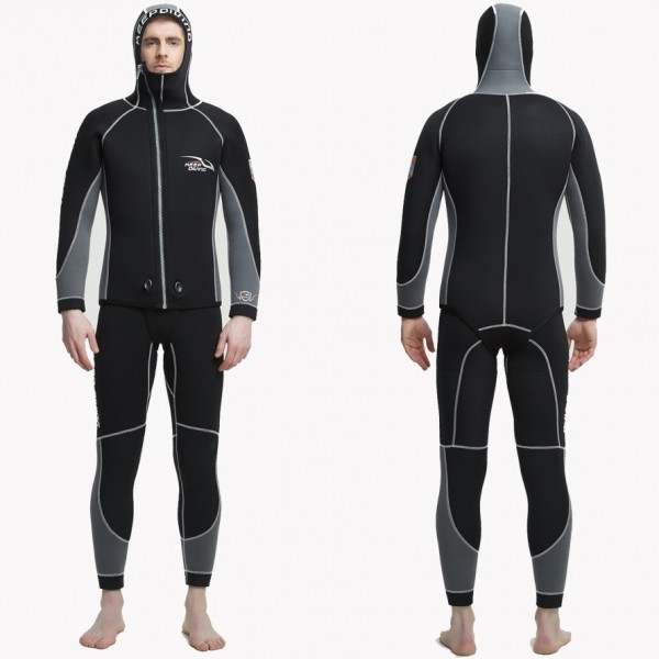 2Pcs 7MM Neoprene Men's Wetsuits Hooded Scuba Diving Fullsuit For Cold Water