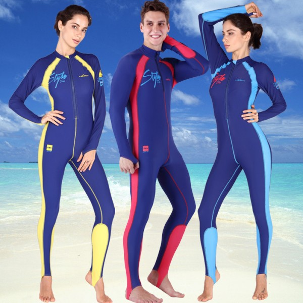 Womens & Men Rash Guards Full Body Front Zip Sun Protection Dive Skin