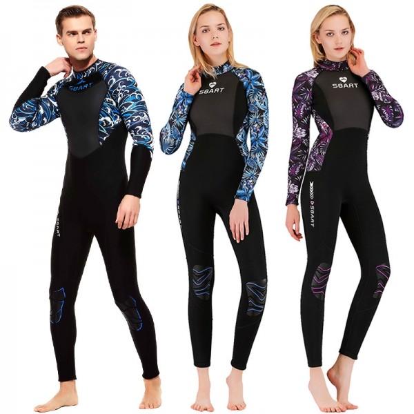 3MM Neoprene Womens Mens Wetsuits Print Sleeves Diving Fullsuit