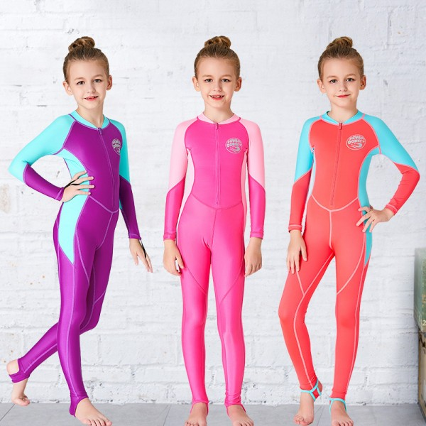 Girls' Rash Guard Dive Skin Suit SPF30 Quick Dry Full Body Swimwear