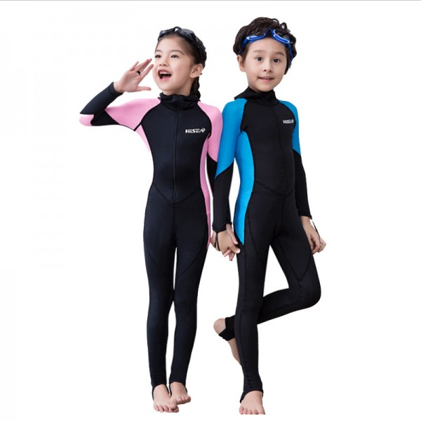 Kids Rash Guard Dive Skin Suit SPF30 Quick Dry Full Body Swimwear With Hood