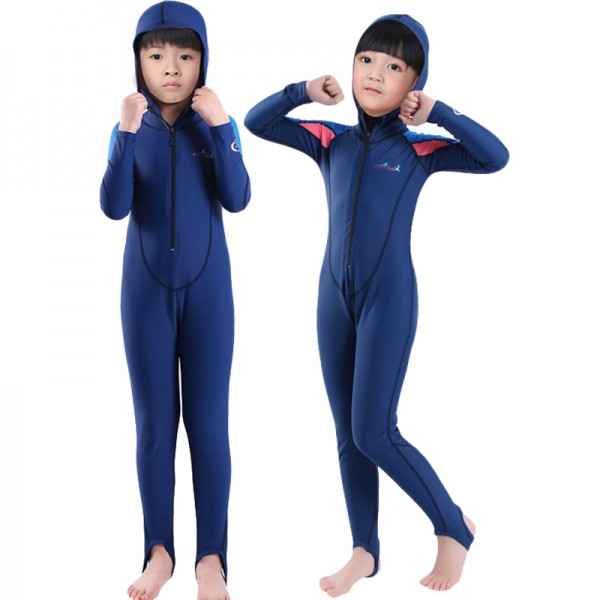 Blue Rash Guard Dive Skin Suit Quick Dry Fullsuit Swimwear with Hood for Kids