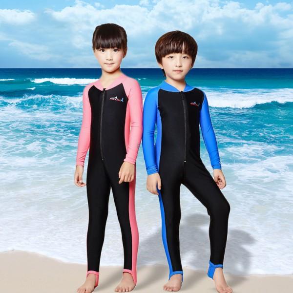 Youth Kids Rash Guard Fullsuit Dive Skin Suit Quick Dry Wetsuit Swimwear
