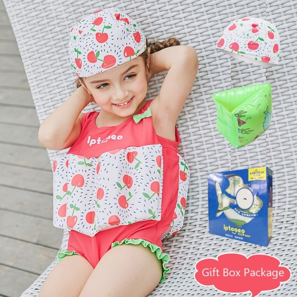Toddler Swmming Floatsuit Cherry Swimwear with Arm Floaties