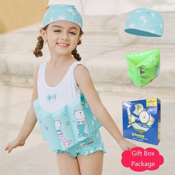 Toddler Swmming Floatsuit Mermaid Swimwear with Arm Floaties