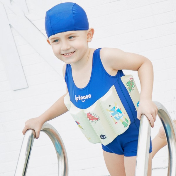 Toddler Swmming Floatsuit Blue Swimwear with Arm Floaties