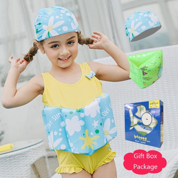 Toddler Swmming Floatsuit Yellow Swimwear with Arm Floaties