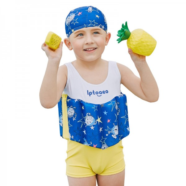 Toddler Swmming Floatsuit White Swimwear with Arm Floaties