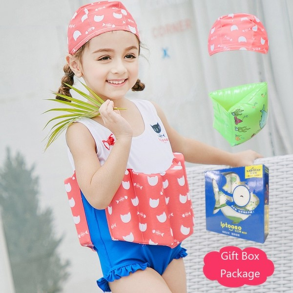 Kids Cat Swimwear Float Suit with Arm Floaties for Toddlers & Infant