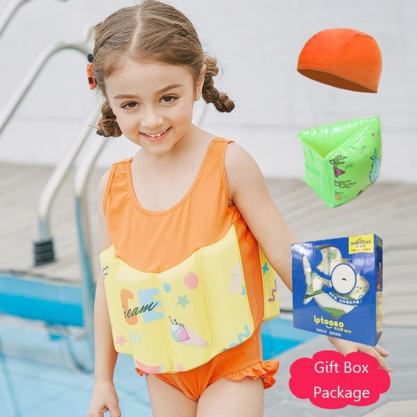 Kids Orange Swimwear Float Suit with Arm Floaties for Toddlers & Infant