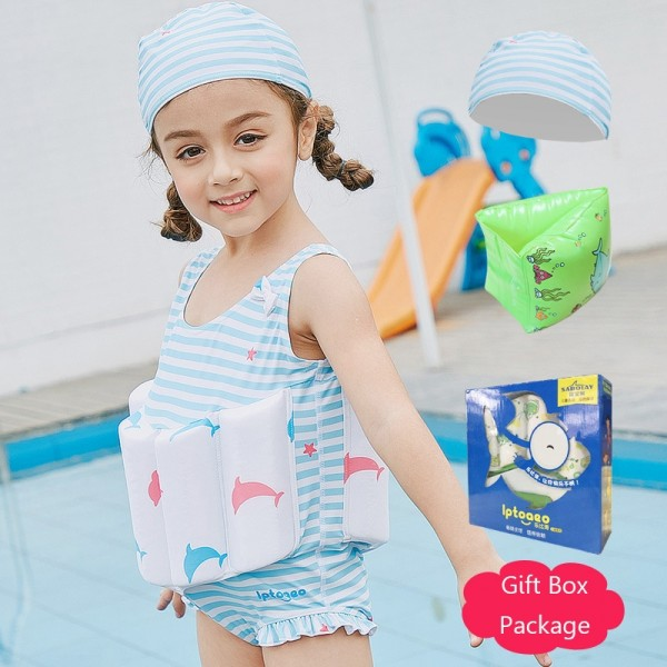Kids Stripe Swimwear Float Suit with Arm Floaties for Toddlers & Infant