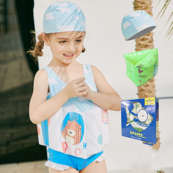 Kids Bear Swimwear Float Suit with Arm Floaties for Toddlers & Infant