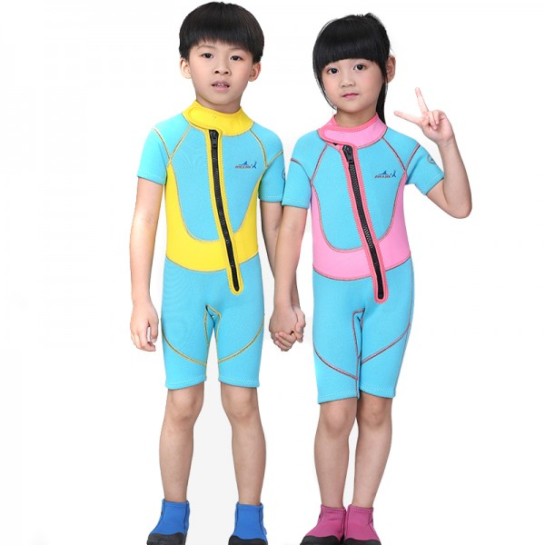 Blue 2.5MM Short Sleeves Diving Wetsuit Springsuit for Kids