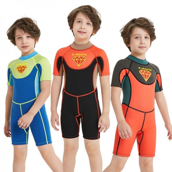 Boys Shorty Wetsuit Diving Springsuit 2.5MM SCR Neoprene Swimwear