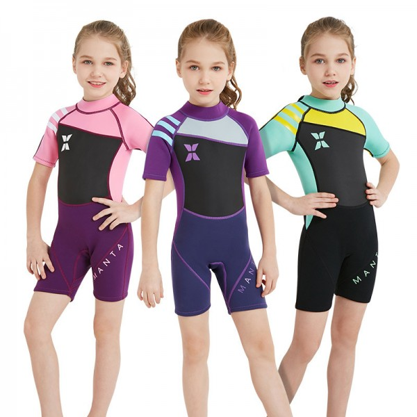 Shorty Girls Wetsuit Diving Springsuit 2.5MM SCR Neoprene Swimwear for Kids