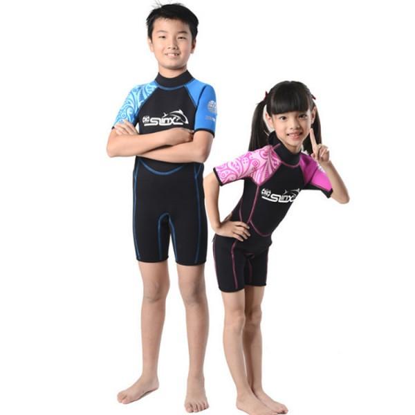 2MM Shorty Diving Wetsuit Springsuit Swimwear For Kids