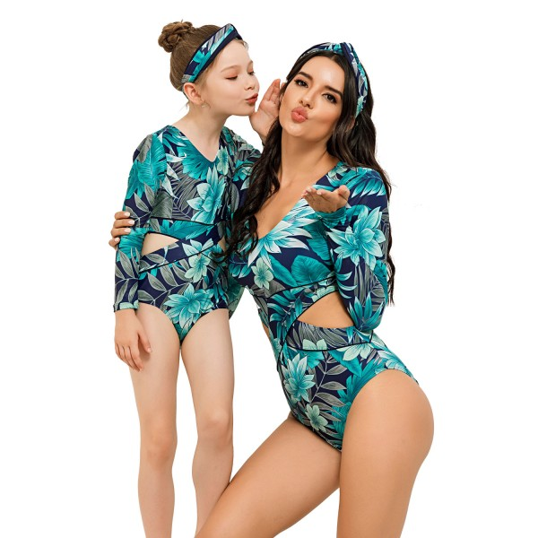 Mother And Daughter Cutaway One Piece Swimsuit Floral Printed Long Sleeve Bathing Wear
