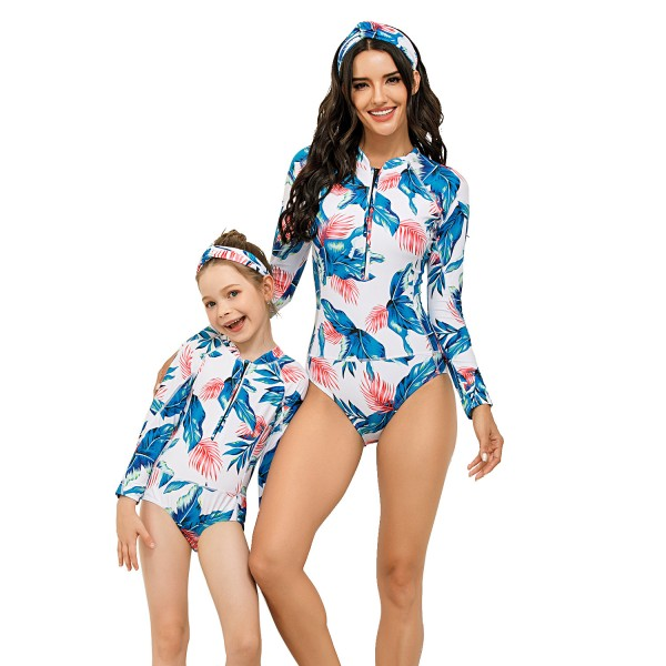 Mommy And Me One Piece Swim Wear Long Sleeve Floral Printed Swimsuit
