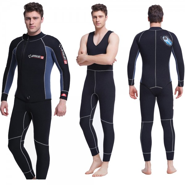 2Pcs Men's 5MM Neoprene Dive Suit Fullsuit Keep Warm Zipper Wetsuit