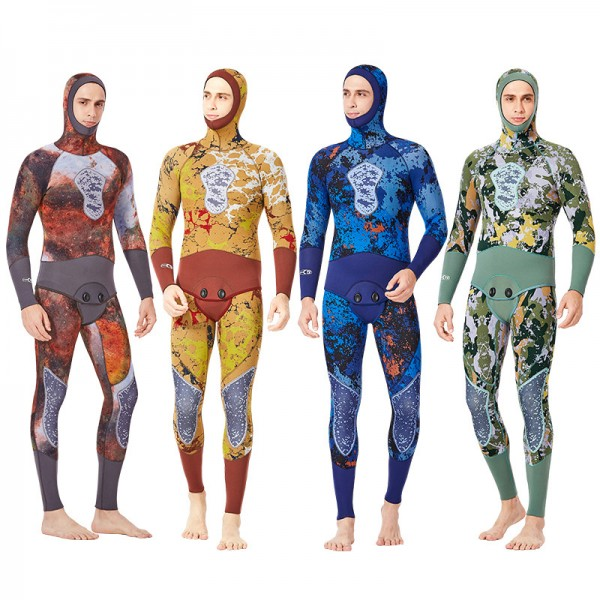 Men's 2Pcs 5MM Neoprene Camouflage Hooded Fullsuit Keep Warm Wetsuit Dive Suit