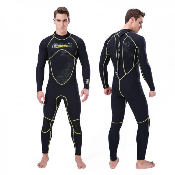 3MM Neoprene Men's Fullsuit Back Zipper Closure Keep Warm Wetsuit Dive Suit