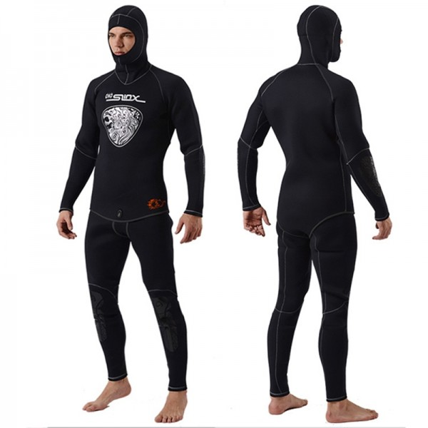 5mm 2Pcs Men's Neoprene Hooded Fullsuit Keep Warm Wetsuit Diving Suit