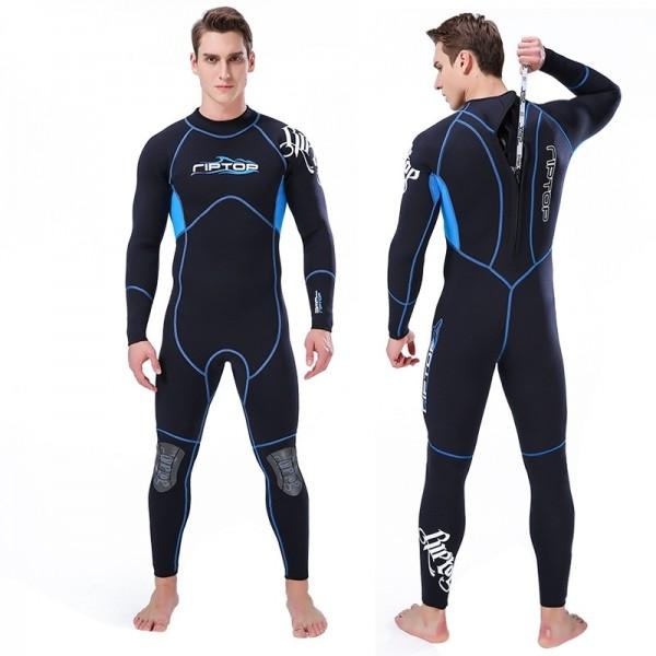 3MM Neoprene Men's Diving Suit Wetsuit Back Zipper Closure Keep Warm Rash Guard Fullsuit