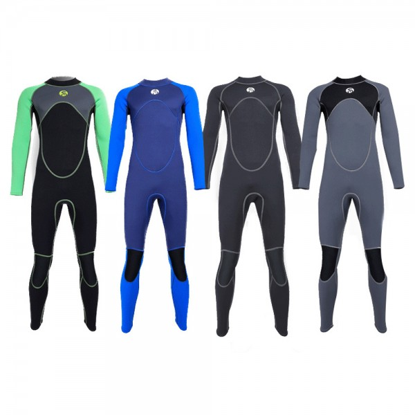 3MM Men's Keep Warm Neoprene Wetsuit Diving Suit Rash Guard Back Drawstring Zipper Colorblock Fullsuit