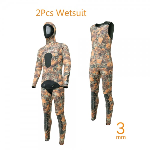 Men's 2Pcs Camouflage 3MM Neoprene Rash Guard Keep Warm Fullsuit Wetsuit Diving Suit