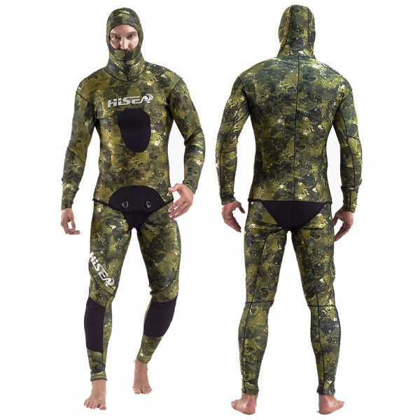 2Pcs Men's 7MM Neoprene Yamamoto Green Camouflage Hooded Fullsuit Fish Hunting Keep Warm Diving Wetsuit
