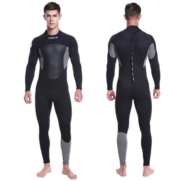 1.5MM Neoprene Men's Wetsuit Keep Warm Rash Guard Diving Suit Back Drawstring Zipper Fullsuit