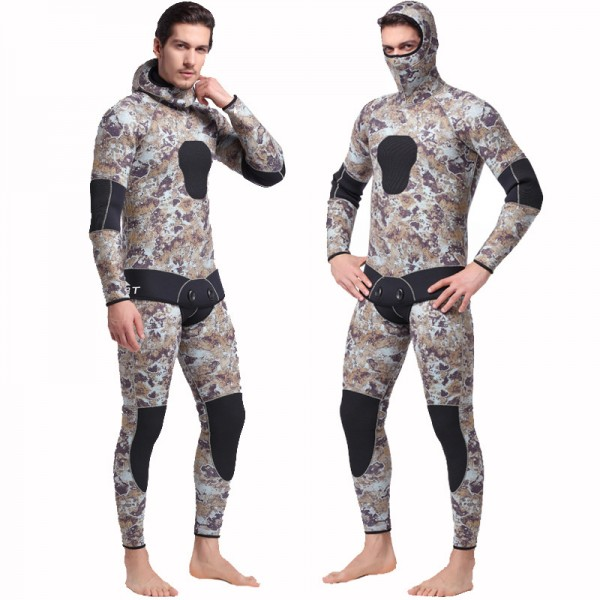 5MM Neoprene Men's 2Pcs Hooded Fullsuit Keep Warm Rashguard Wetsuit Diving Suit