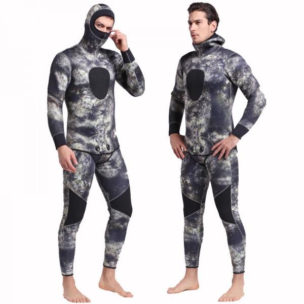 2Pcs 5MM Men's Camouflage Hooded Fullsuit Keep Warm Wetsuit Rash Guard Diving Suit