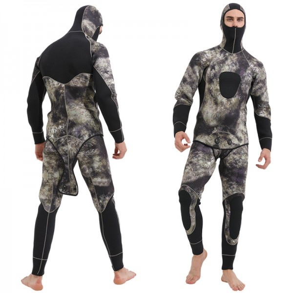 5mm Neoprene 2Pcs Men's Fullsuit Spearfishing Anti-scratch Keep Warm Wetsuit