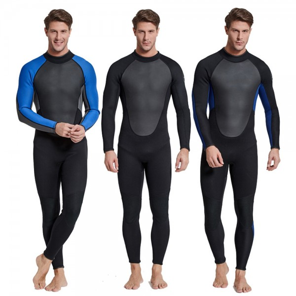 3MM Neoprene Men's Warm Wetsuit Back Zip Diving Suit Fullsuit