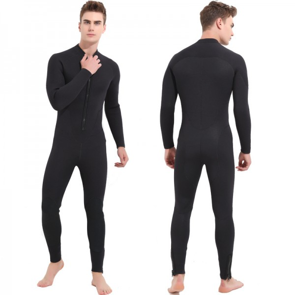 Men's 5MM Neoprene Keep Warm Rash Guard Wetsuit Front Zip Diving Suit Fullsuit Swimwear