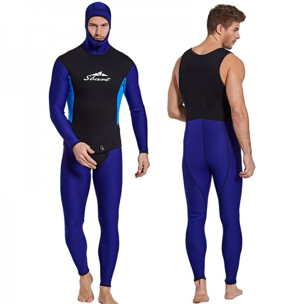 Men's 3MM Neoprene 2Pcs Hooded Wetsuit Warm Rash Guard Diving Suit Fullsuit Swimwear