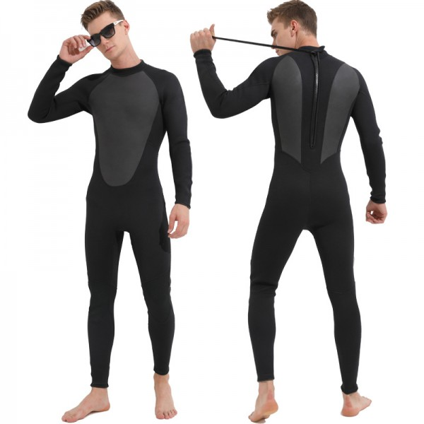 Men's 3MM SCR Neoprene Rash Guard Wetsuit Keep Warm Back Zip Diving Suit Fullsuit Swimwear