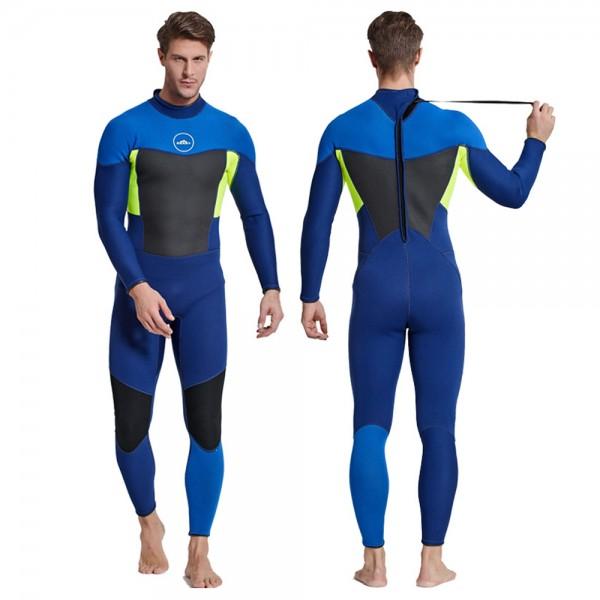 3MM SCR Neoprene Rash Guard Full Wetsuit Warm Back Zip Diving Suit Colorblock Swimwear For Men