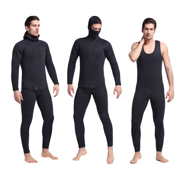 Men's 5MM SCR Neoprene Keep Warm 2Pcs Hooded Wetsuit Diving Suit Fullsuit Swimwear