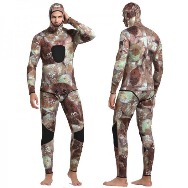 3MM SCR Neoprene Men's Warm 2Pcs Hooded Wetsuit Camouflage Anti-scratch Diving Suit Fullsuit