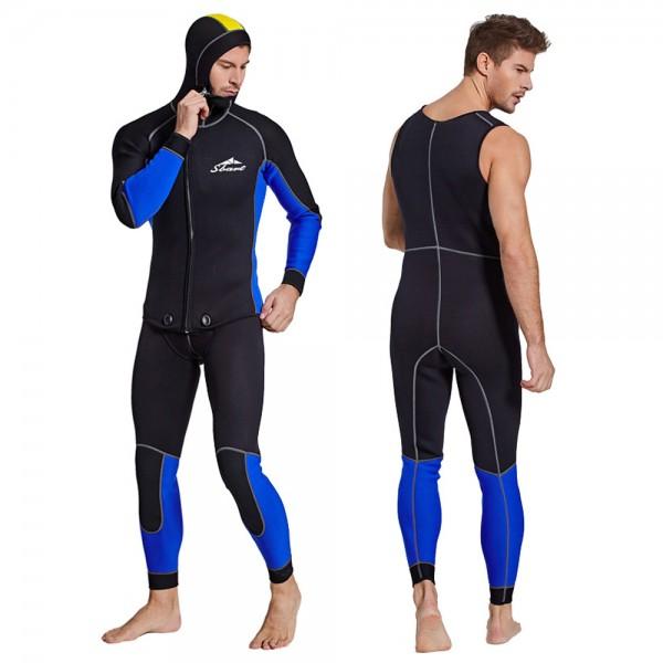 3MM SCR Neoprene Men's Rash Guard 2Pcs Wetsuit Warm Front Zipper Diving Suit Fullsuit Swimwear