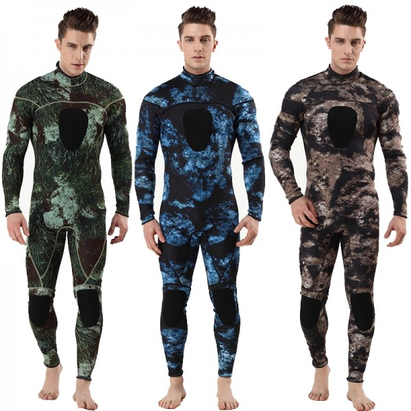 3MM SCR Neoprene Men's Warm Camouflage Wetsuit Diving Suit Fullsuit Swimwear