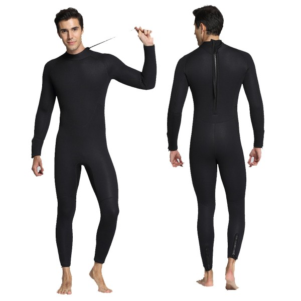 5MM SCR Neoprene Men's Rash Guard Wetsuit Mercerized Velvet Lining Warm Diving Suit Back Zipper Fullsuit