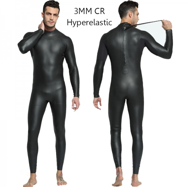 Men's Triathlon Wetsuit Diving Suit 3MM SCR Neoprene Rash Guard Jumpsuit Fullsuit