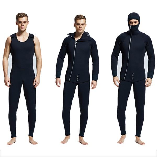 7MM SCR Neoprene Men's Hooded Wetsuit Mercerized Velvet Lining Diving Suit Warm Jumpsuit