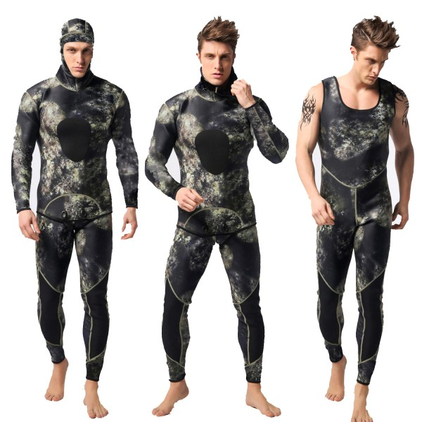 Men's 3MM SCR Neoprene Warm Hooded Wetsuit Camouflage Diving Suit Jumpsuit Fullsuit