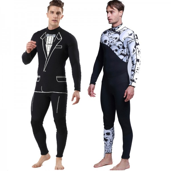 3MM Neoprene Men's Diving Wetsuit Back Zip Closure Warm Rash Guard Fullsuit
