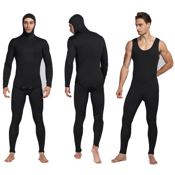 Men's 3MM SCR Neoprene Warm 2Pcs Hooded Wetsuit Fish Hunting Diving Suit Jumpsuit Fullsuit